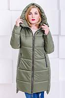 Стильная модная зимняя куртка размер плюс Риана хаки (50-64)