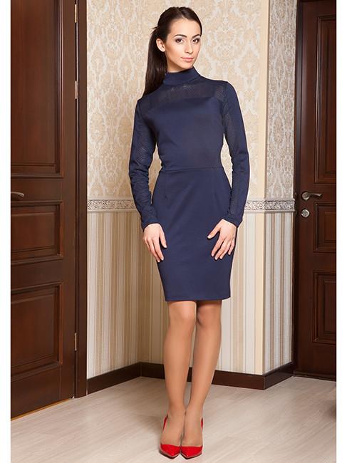 Женское деловое платье синего цвета (размеры S-2XL)