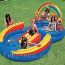 """Игровой центр детский надувной с горкой 297*193*135 см """"Радуга"""" Intex 57453"""