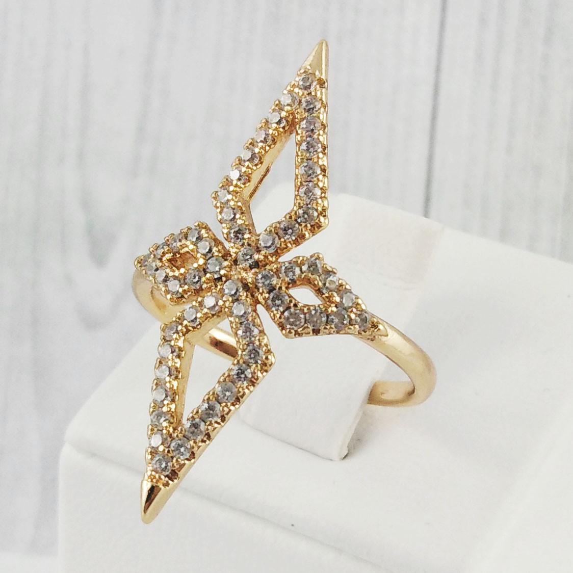 """Кольцо Xuping Jewelry """"Бенита"""" размер 17,5,  медицинское золото, позолота 18К. А/В 2097"""
