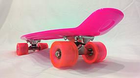 Розовый  Penny Board розовый (Пенни борд):пром, 6 цветов (лонгборд) ,розовый,Колёса Полиуритан ,пром юа,