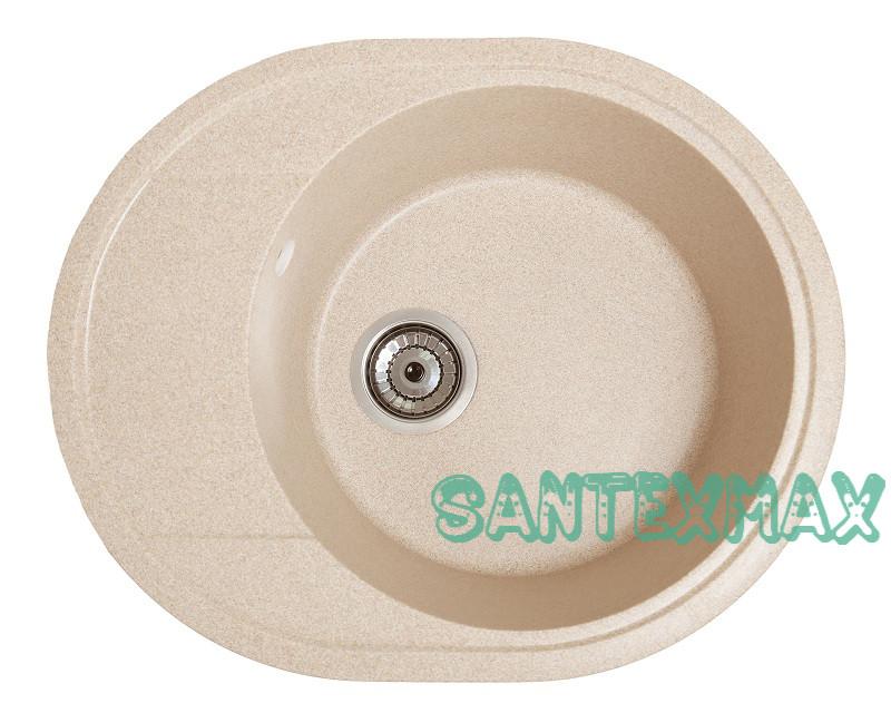 Кухонная каменная мойка Solid Комфи желтый ( гранит ) 58x47