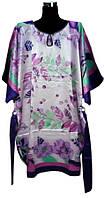 Шелковое платье кимоно с поясом лепестки, фото 1