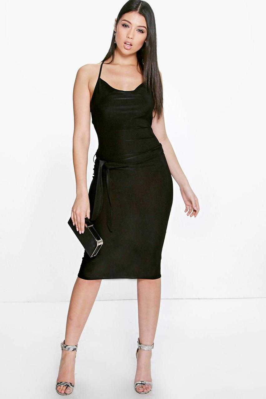 Новое миди платье под пояс Boohoo