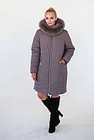 Удлиненная зимняя куртка Аурелия кофе (52-62), фото 1