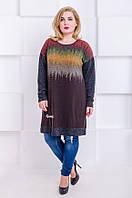 Платье-туника с размер плюс Злата шоколад с орнаментом (58-68), фото 1