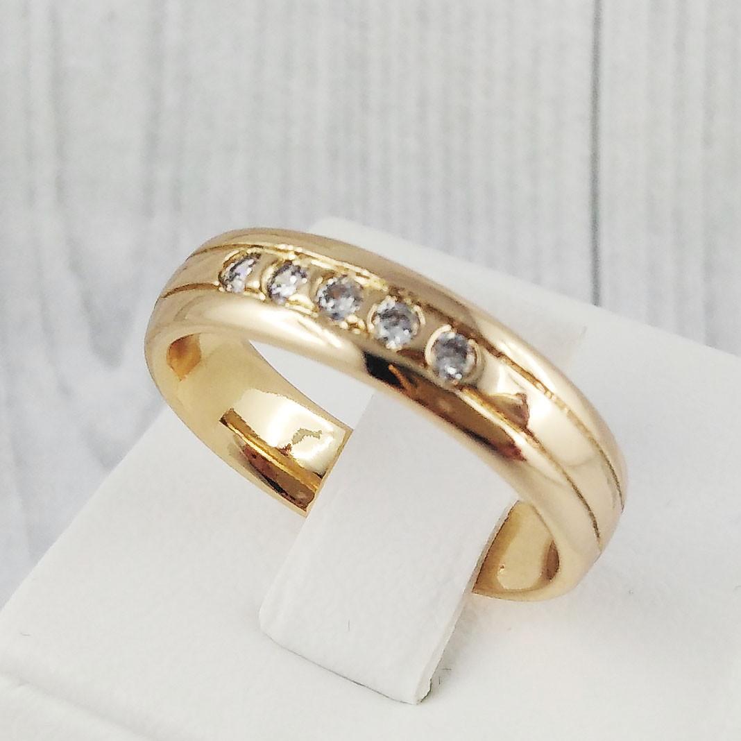 Кольцо обручальное XUPING размер 17 с фианитами, медицинское золото, позолота 18К