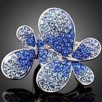 Массивное кольцо бабочки ювелирная бижутерия с Swarovski