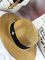 Летняя шляпка канотье Gucci коричневая (реплика), фото 1