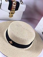 Летняя шляпка канотье Gucci беж (реплика), фото 1