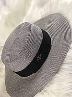 Летняя шляпка канотье Гуччи серебро (реплика), фото 1