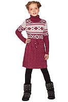 Вязанная туника с красивым зимним узором для девочек 128-152р
