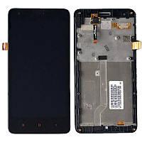 Дисплей (экран) для Xiaomi Redmi 2 ксиоми + тачскрин, с передней панелью, цвет черный