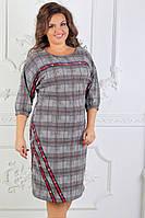 Женское нарядное платье в клетку ботал 50,52,54рр. трикотаж, фото 1