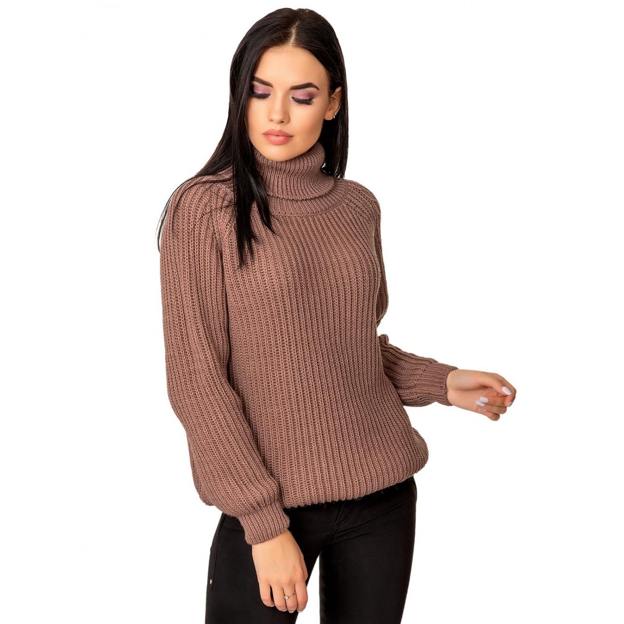 Вязаный свитер с горлом 44-46-48 размеры 6цветов