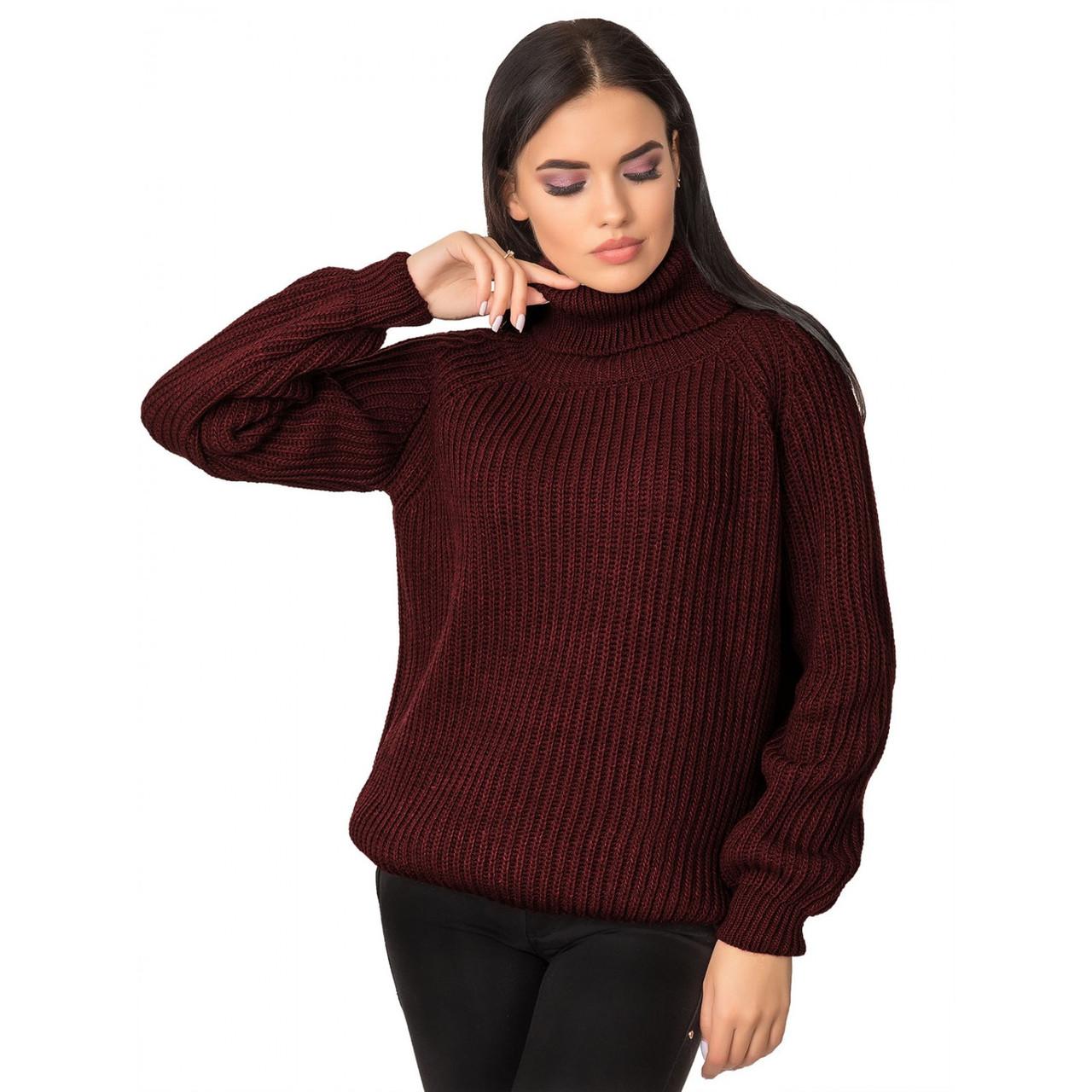 Теплый женский свитер под горло бордовый 44-46-48 размеры