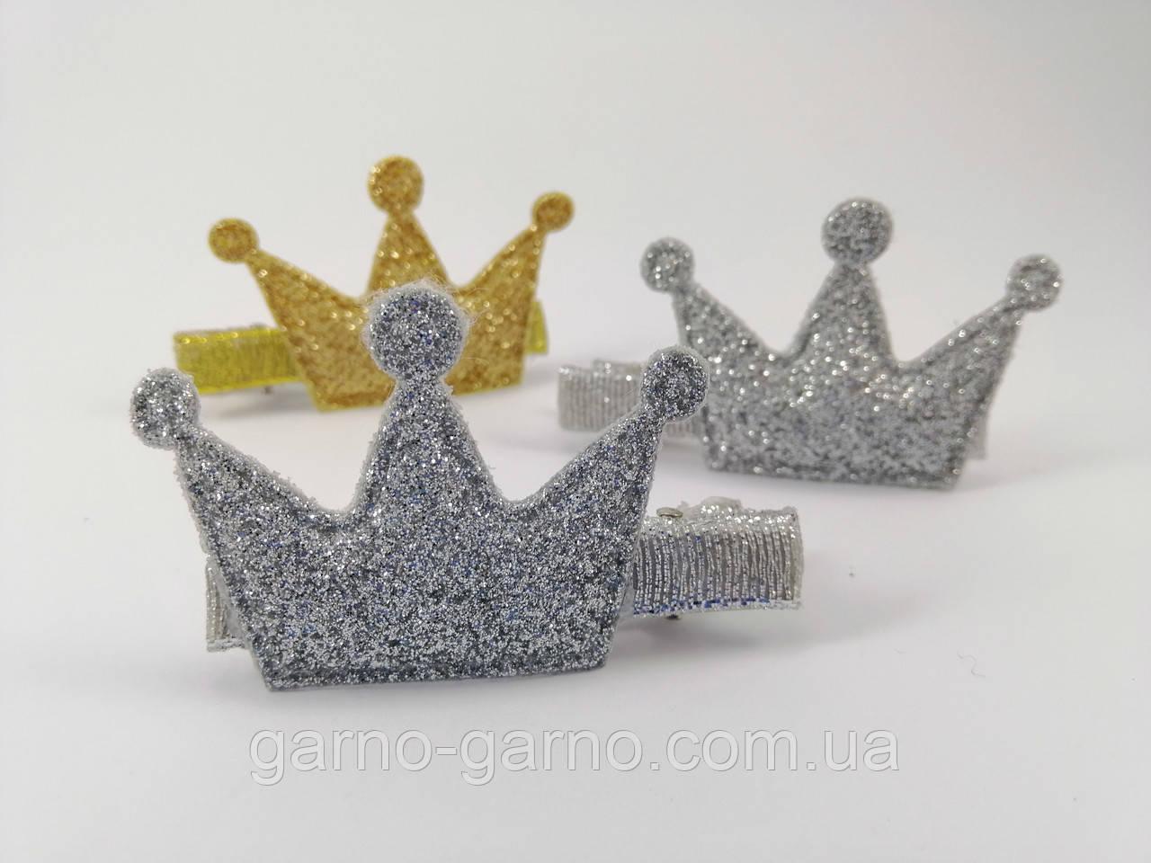 Шпилька Корона блискуча Срібна зерниста