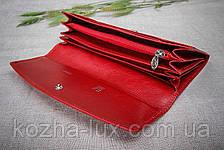 Кошелек женский кожаный красный без металла, натуральная кожа, фото 3