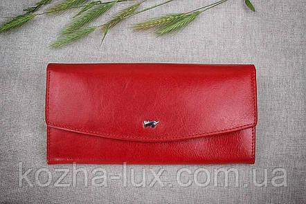 Кошелек красный без металла, натуральная кожа, фото 2