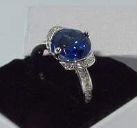 Серебряное кольцо, Загадка, с камнем синий куб. цирконий, размер 18