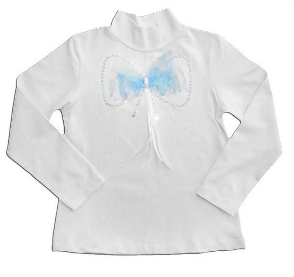 """Блуза для девочки белая """"Ажурный бант"""", голубой бантик"""