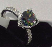 Серебряное кольцо, Кристалл, с камнем куб. цирконий, размер 17, фото 1
