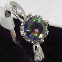 Серебряное кольцо, Кристалл, с камнем куб. цирконий, размер 18, фото 1