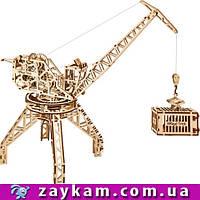 Кран 00005 - деревянный 3D пазл Wood trick (механический деревянный конструктор)