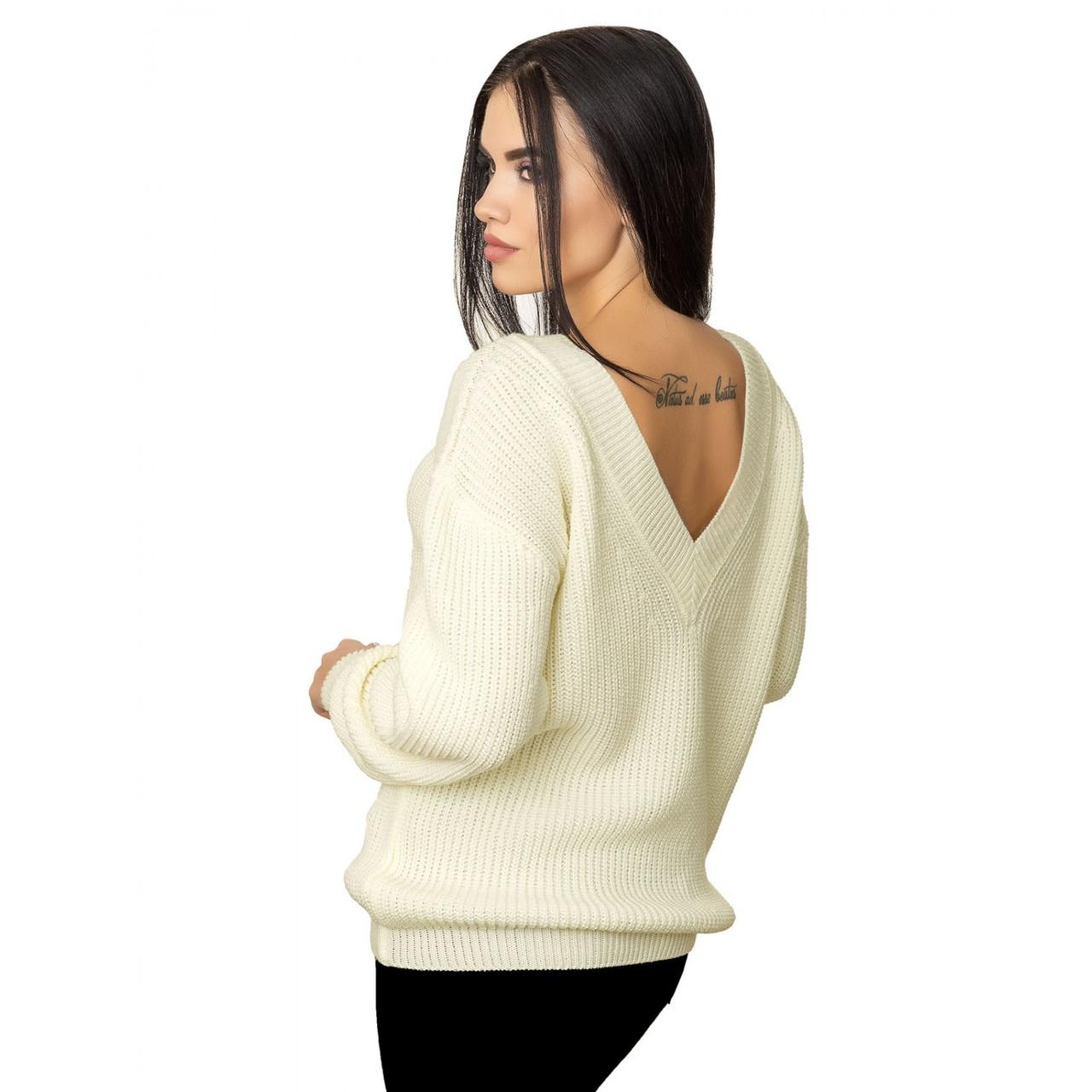 Модный женский свитер крупная вязка белый 46-48 размеры