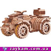 Квадроцикл 00006 - деревянный 3D пазл Wood trick (механический деревянный конструктор)