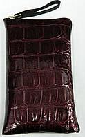 Чехол для телефона на змейке размер средний лаковый бордовый, фото 1