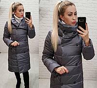 Удлиненная стеганая куртка женская (батал)