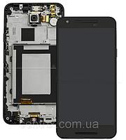 Дисплей (экран) для LG H791 Nexus 5X + тачскрин, черный, с передней панелью