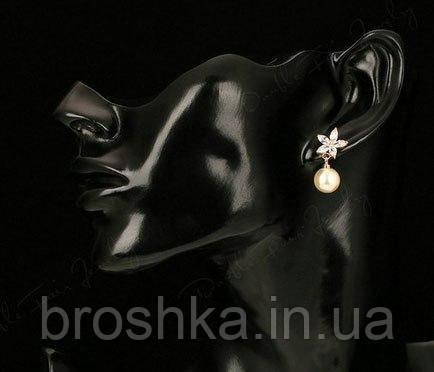 Серьги бижутерия цветы с камнями Swarovski и жемчугом, фото 2