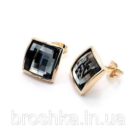 Квадратные серьги бижутерия с серыми Swarovski, фото 2
