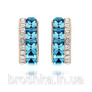 Серьги бижутерия xuping с голубыми камнями