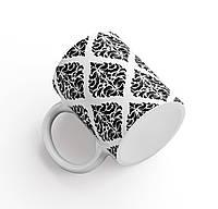 Кружка / чашка Барокко (дизайнерская подарочная) черно - белая