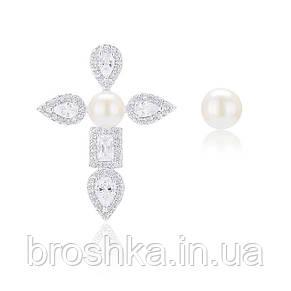 Асимметричные серьги крест с жемчугом ювелирная бижутерия, фото 2