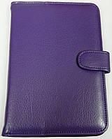 Чехол для планшетов с диагональю 7 дюймов фиолетовый сделанный из искусственной кожи внутри замшевый , фото 1