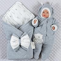 """Комплект на выписку весна """"Маленькие стиляжки"""" новорожденному (серый)"""