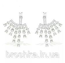 Серьги джекеты веер под мочкой уха с белыми камнями бижутерия, фото 2