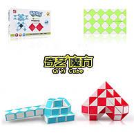 Змейка Рубика QiYi Magic Snake, 60 элементов, цветной матовый пластик, зелено-белый цвет