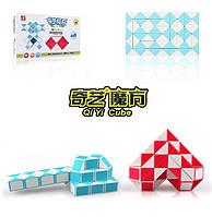 Змейка Рубика QiYi Magic Snake, 60 элементов, цветной матовый пластик, сине-белый цвет