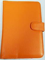 Чехол для планшетов с диагональю 7 дюймов оранжевый сделанный из искусственной кожи внутри замшевый , фото 1