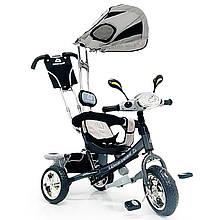 Велосипед трехколесный с родительской ручкой WS862EW-M (светящаяся фара) Колеса Пена 12\10Графитовый