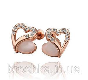 Позолоченные серьги сердца с камнем кошачий глаз, фото 2