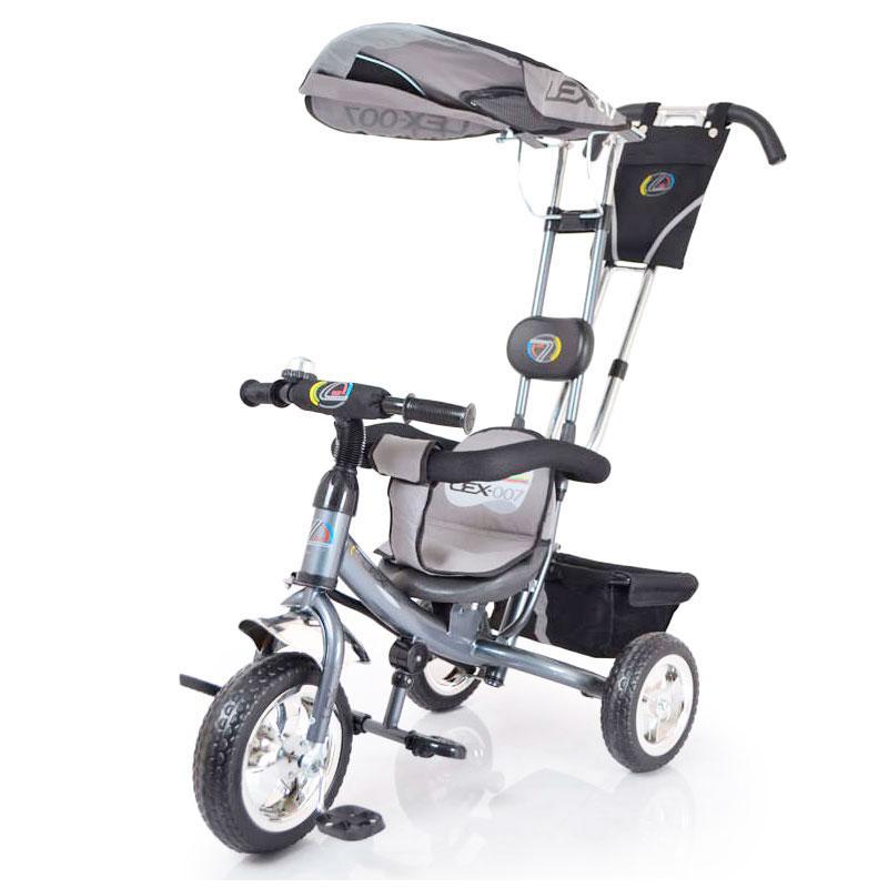 Трьох-колісний Велосипед з батьківською ручкою Lex-007 (10/8 EVA wheels) Grey
