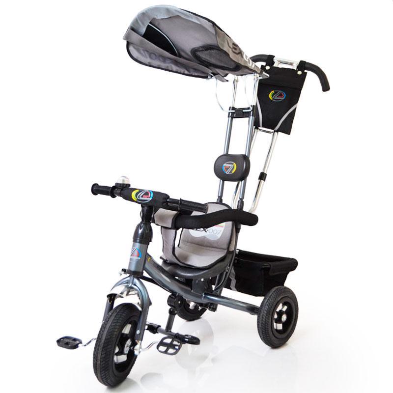 Трьох-колісний Велосипед з батьківською ручкою Lex-007 (12/10 AIR wheels) Grey