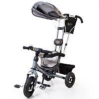 Трех-колесный Велосипед с родительской ручкой Lex-007 (10/8 AIR wheels) Grey