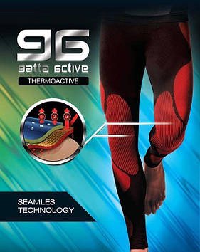 Чоловічі безшовні термоллегинсы Gatta Active (в розмірах М-2XL) розмір М